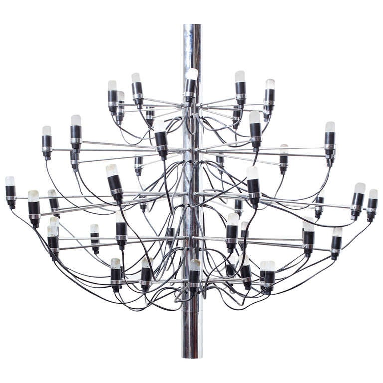 "Gino Sarfatti ""2097"" Chrome Chandelier For Sale"