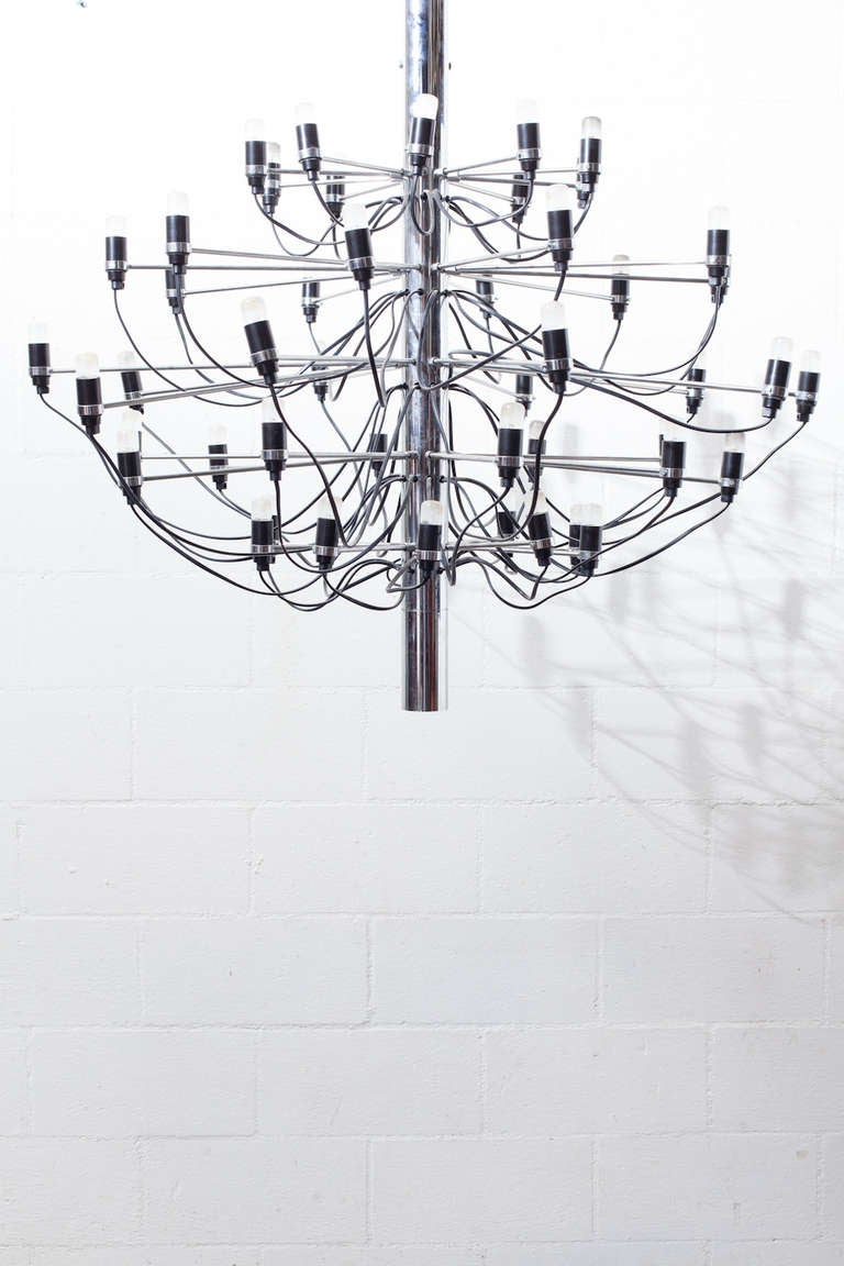 The 2097, 50 Bulb suspension Chrome Chandelier by Gino Sarfatti in 1958.