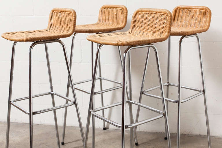 Set Of 4 Charlotte Perriand Style Wicker Bar Stools At 1stdibs