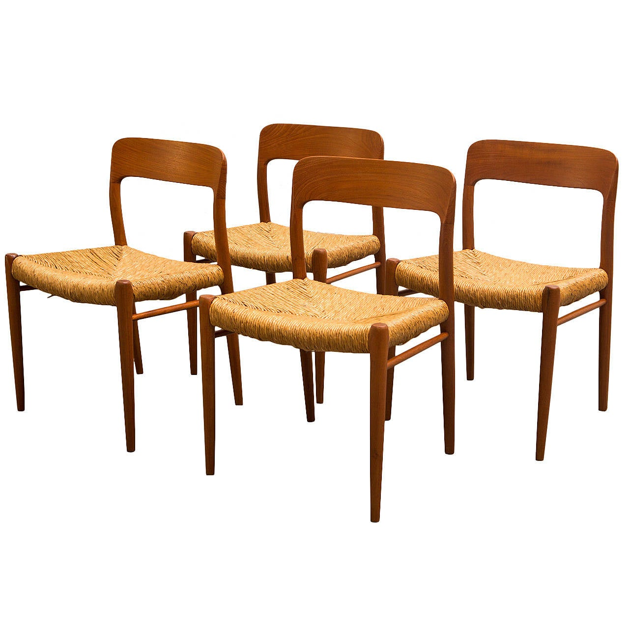 Set Of Four Niels Moller Model 75 Teak Dining Chairs With Rush Seating For Sale