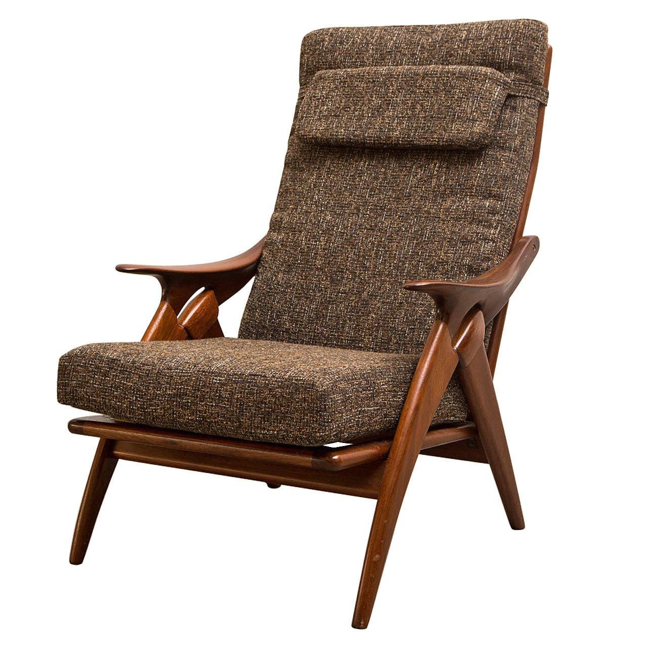 De Ster Mid Century Teak Lounge Chair at 1stdibs