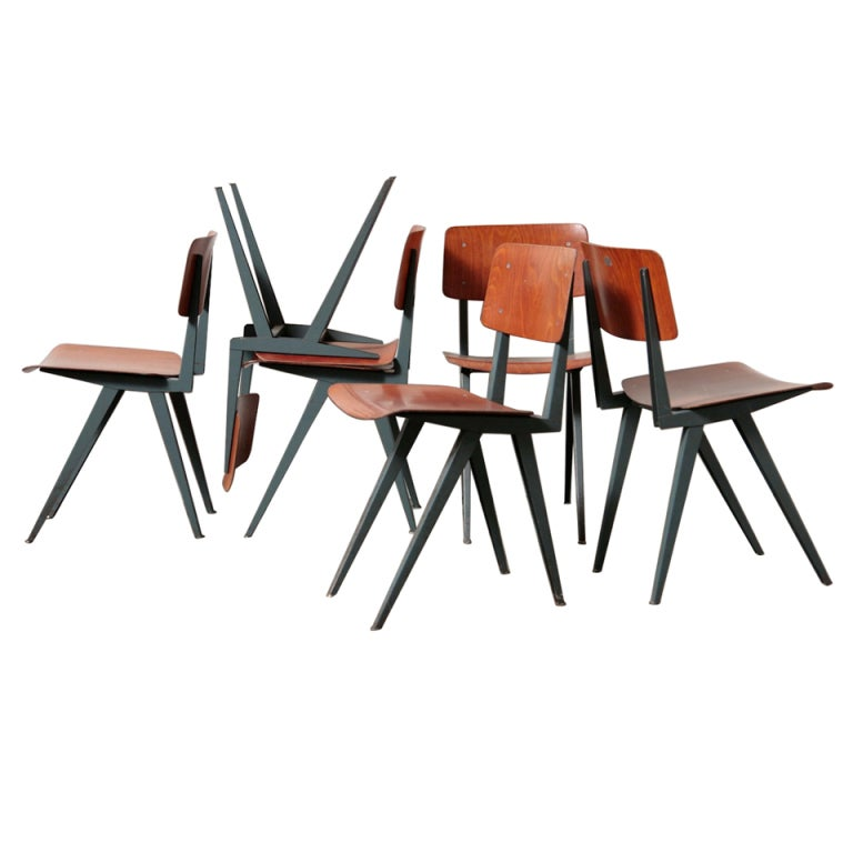 Friso Kramer Style Industrial Dining Chair Set At 1stdibs