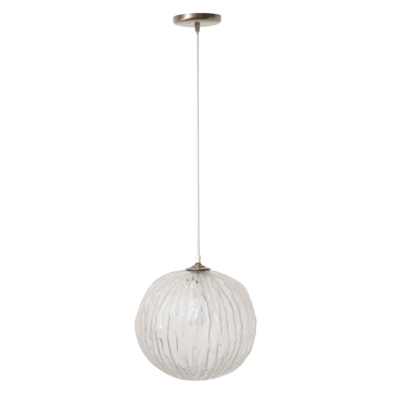 Murano Glass Globe Pendant Lamp For Sale at 1stdibs