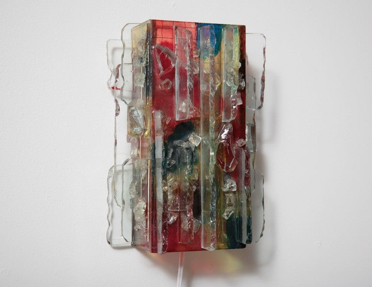 Multi-Colored Glass Shard Collage Wall Sconce from the 1960's by  A. Lankerhorst for RAAK.