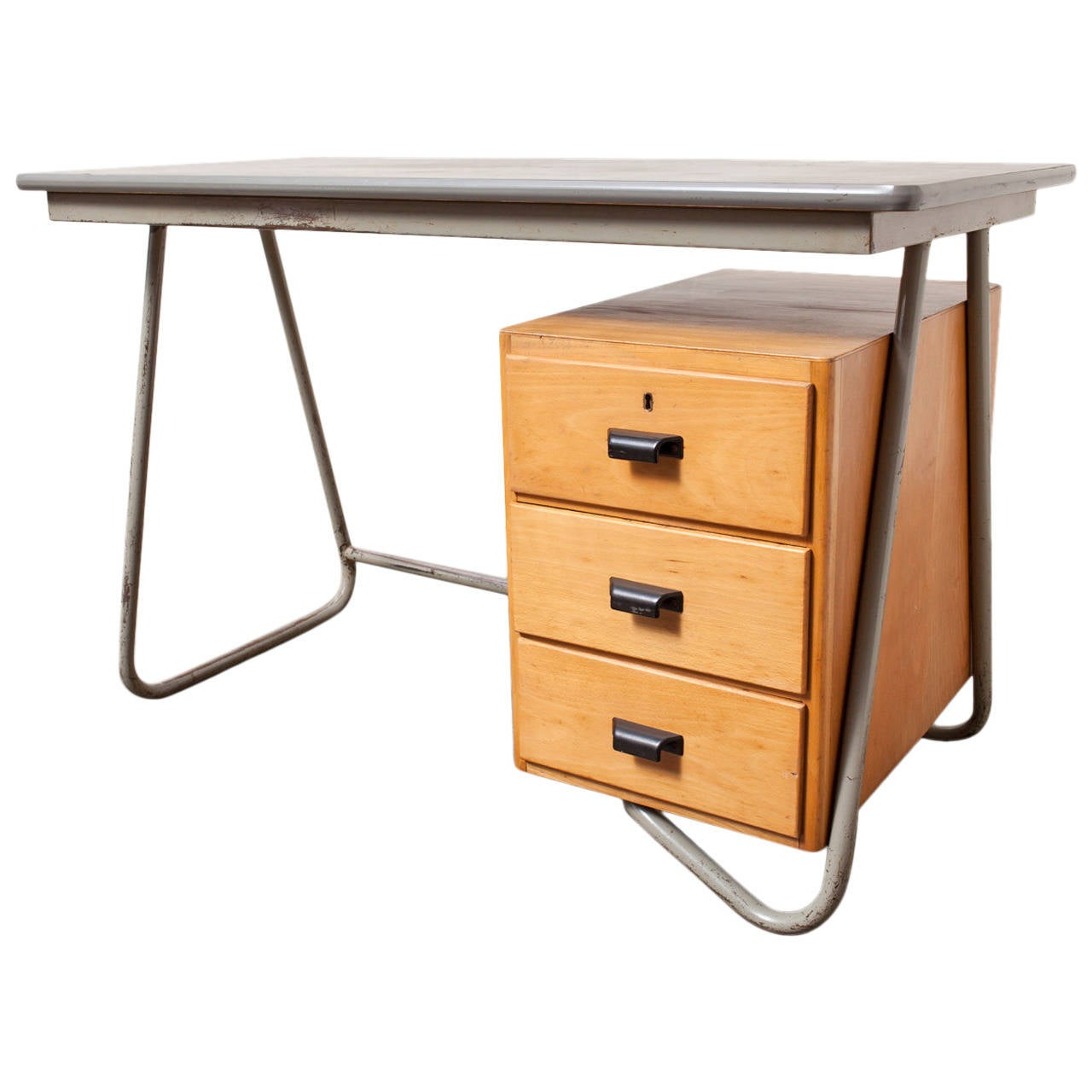 Dutch Deco Style Tubular Desk with Birch Drawers For Sale