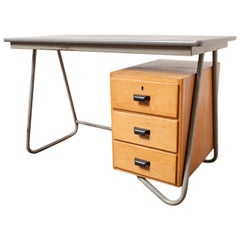 Dutch Deco Style Tubular Desk with Birch Drawers