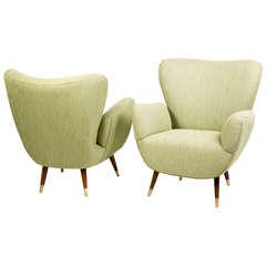 Pair of Italian Mid-Century Wingback Armchairs