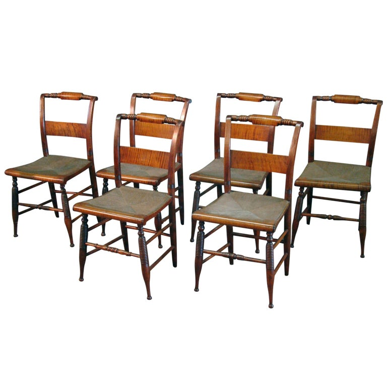 Set Of 6 Tiger Maple Chairs At 1stdibs