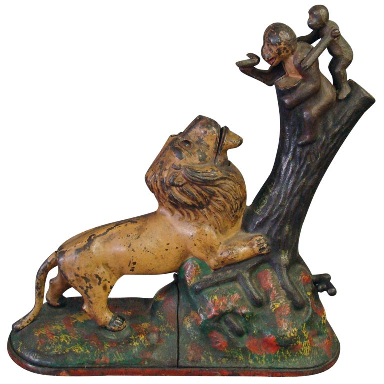 Lion And Monkeys Mechanical Bank At 1stdibs
