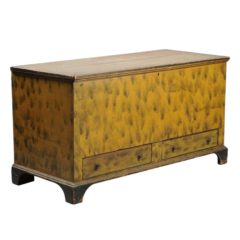 Paint Decorated Blanket or Dower Chest at 1stdibs