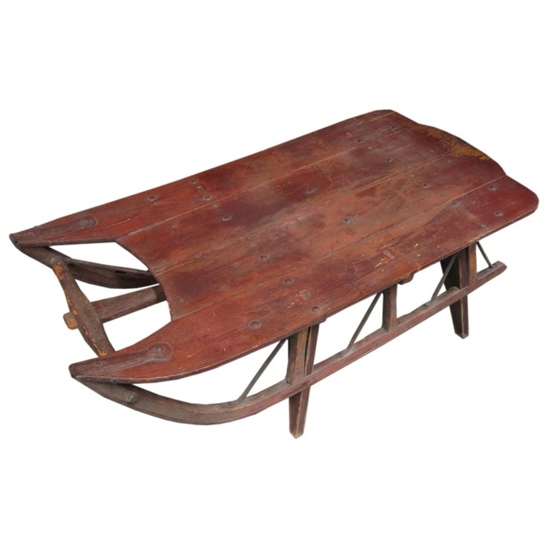 Antique work sled coffee table at 1stdibs Antique sleigh coffee table