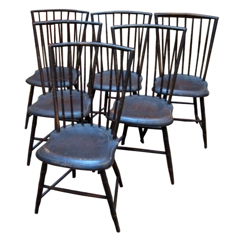 Set Of Six Painted Windsor Side Chairs At 1stdibs