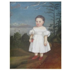 Naive Portrait of a Girl in a White Dress