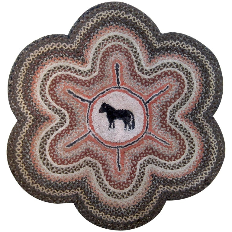 Hooked Rug W/Horse At 1stdibs