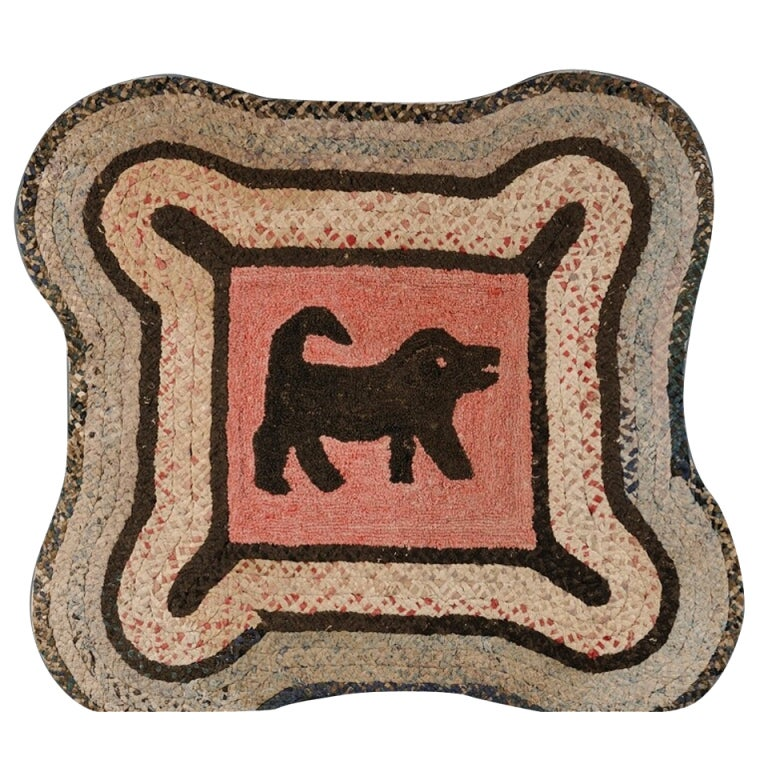 Dog Hooked Rugs: Hooked Rug With A Dog At 1stdibs