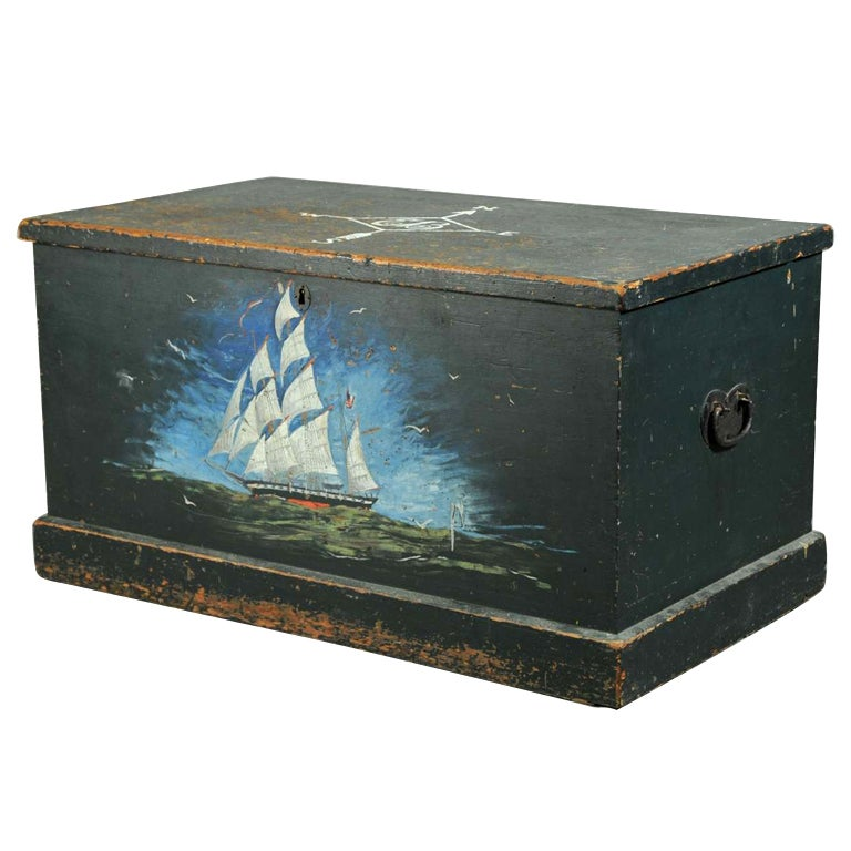 Painted Sailor S Chest At 1stdibs