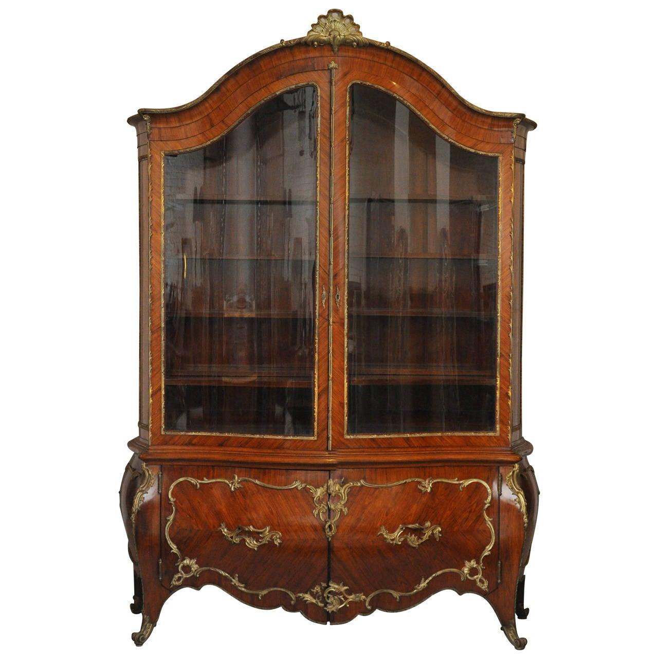 Rococo Bombé Vitrine Bookcase with Gilt Bronze Mounts, France 1880