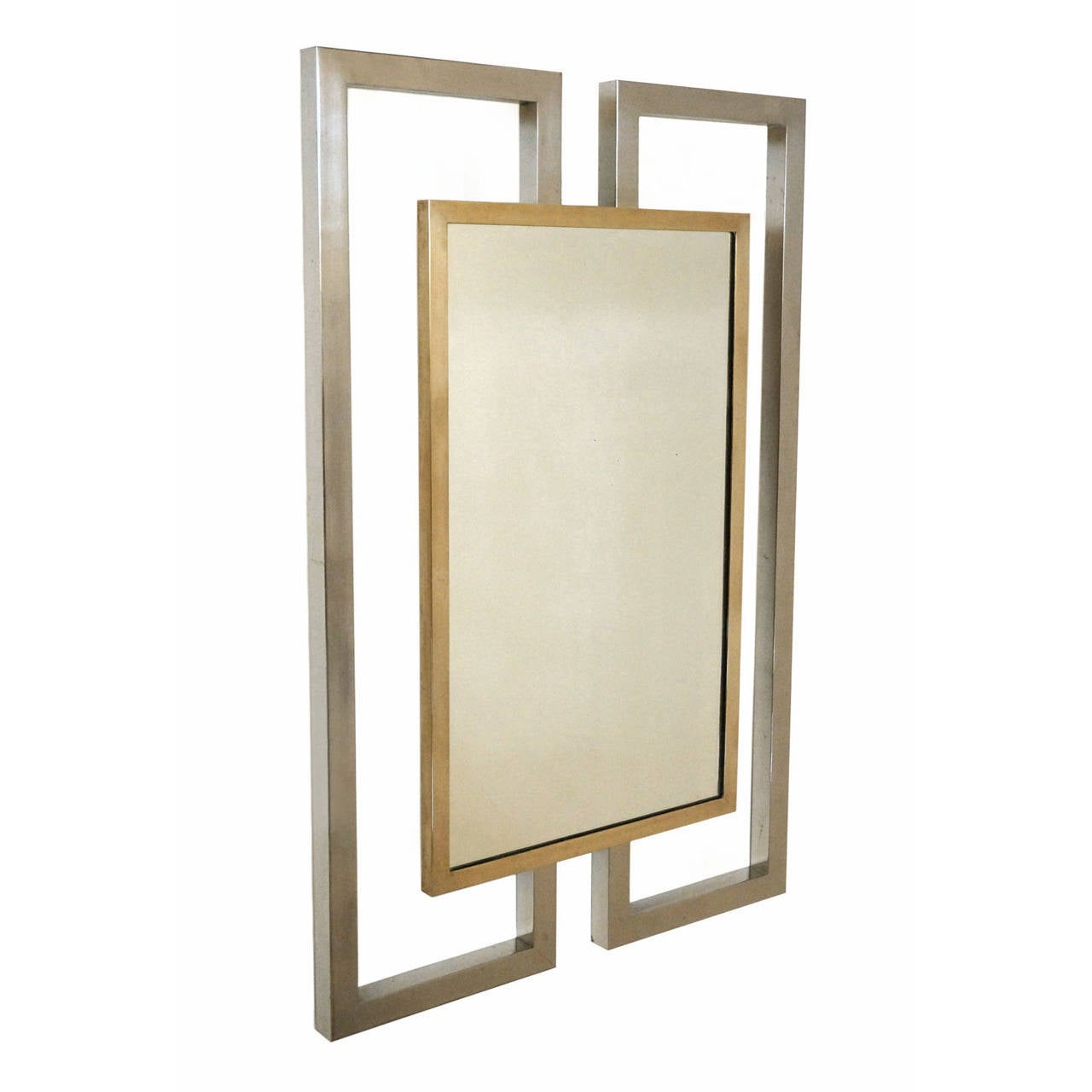 Geometric Wall Mirror mid-century modern brass and chrome geometric wall mirror, france
