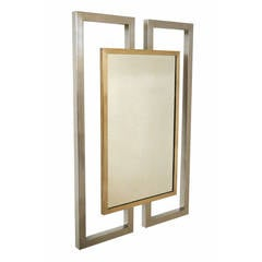 Mid-Century Modern Brass and Chrome Geometric Wall Mirror, France, circa 1970