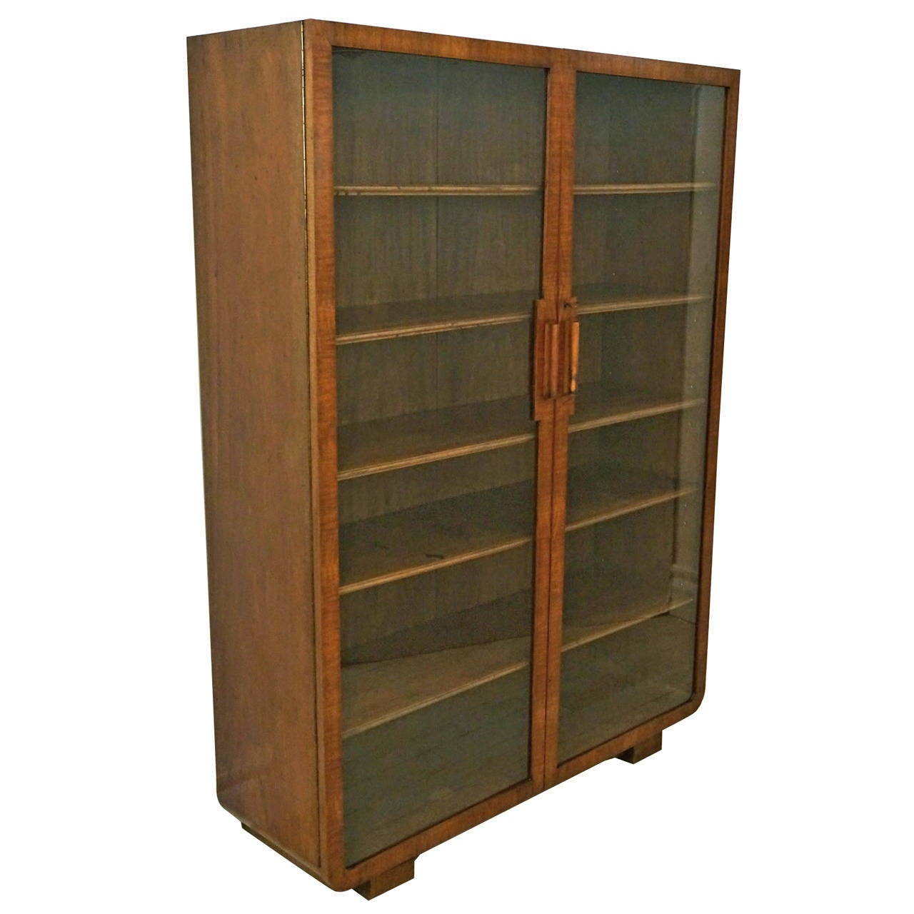 Art Deco Walnut Cabinet with Glass Doors and Wood Shelves For Sale ...
