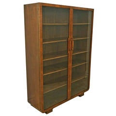 Art Deco Walnut Cabinet with Glass Doors and Wood Shelves