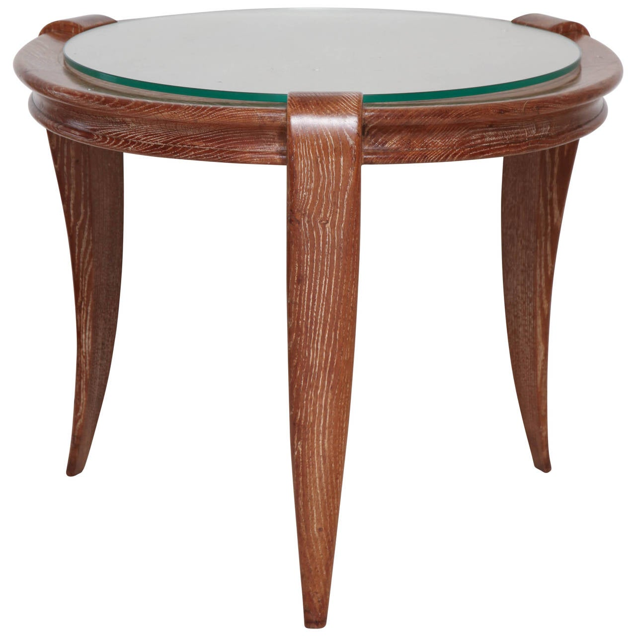Round Cerused Oak Tripod Side Table With Glass Top And Tappering Legs. Full resolution‎  portraiture, nominally Width 1280 Height 1280 pixels, portraiture with #105C4C.