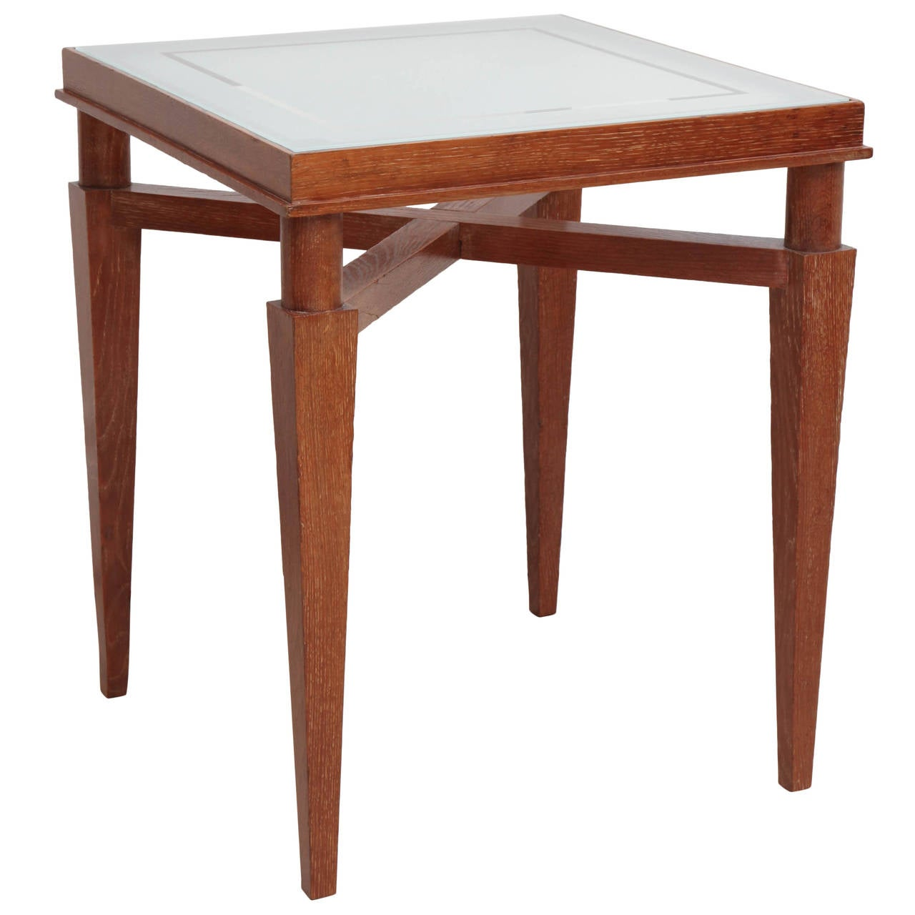 Cerused Oak Square Side Table With Etched Glass Top France Circa . Full resolution‎  portraiture, nominally Width 1280 Height 1280 pixels, portraiture with #4F2318.