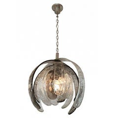 "Textured Murano Glass ""Artichoke"" Pendant Light Sculpture, by Nason for Mazzega"