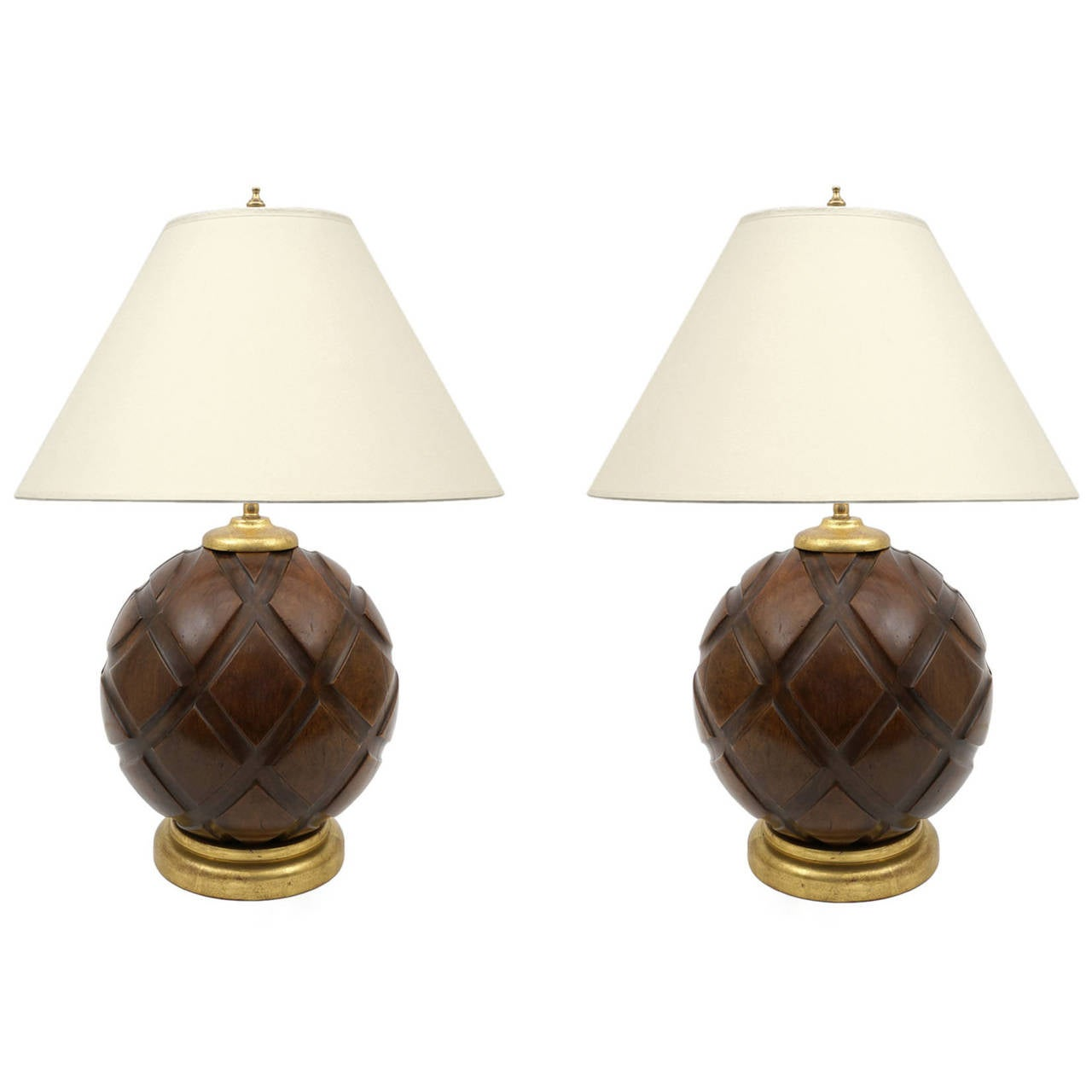Unique Pair Of Carved Wood Sphere Lamps On Giltwood Bases