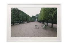 "Richard Stern Large Color Photograph ""Jardin des Tuilleries"" in White Frame"