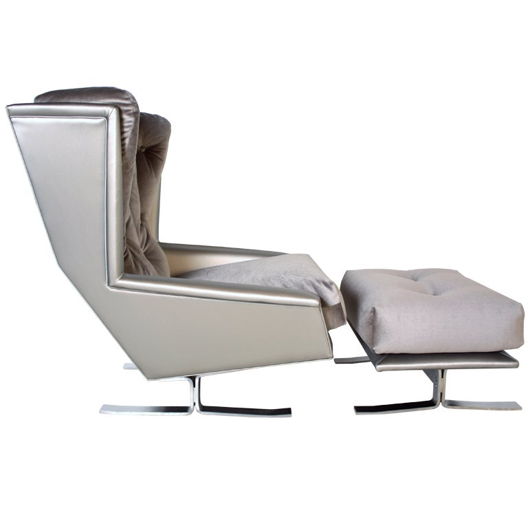 1970s Chrome Sled Wing Chair and Ottoman