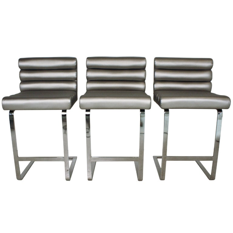 Pace Collection Chrome Bar Stools At 1stdibs