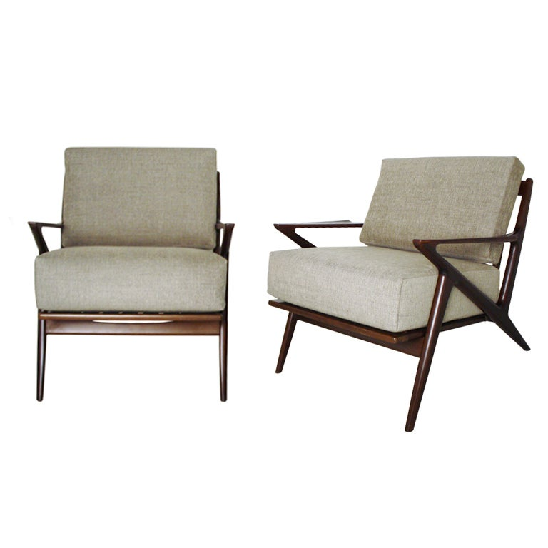 Pair of poul jensen z chairs by selig at 1stdibs for Poul jensen z chair