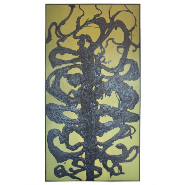 "Greg Kaiser ""Tar Man"" Painting on Board, Framed 1"