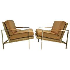 Milo Baughman Chrome Arm Chairs