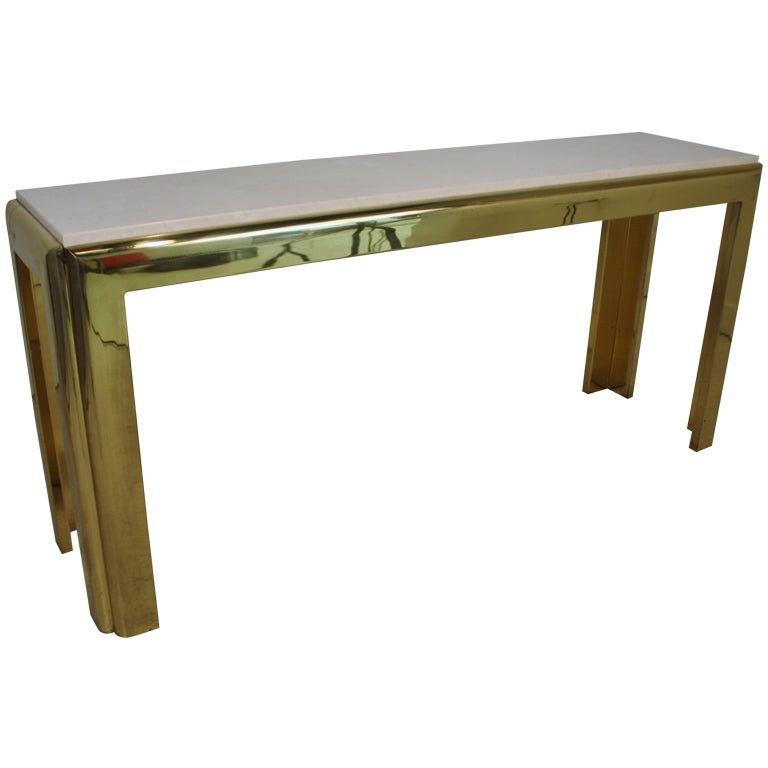 Brass And Cream Marble Top Console Table At 1stdibs