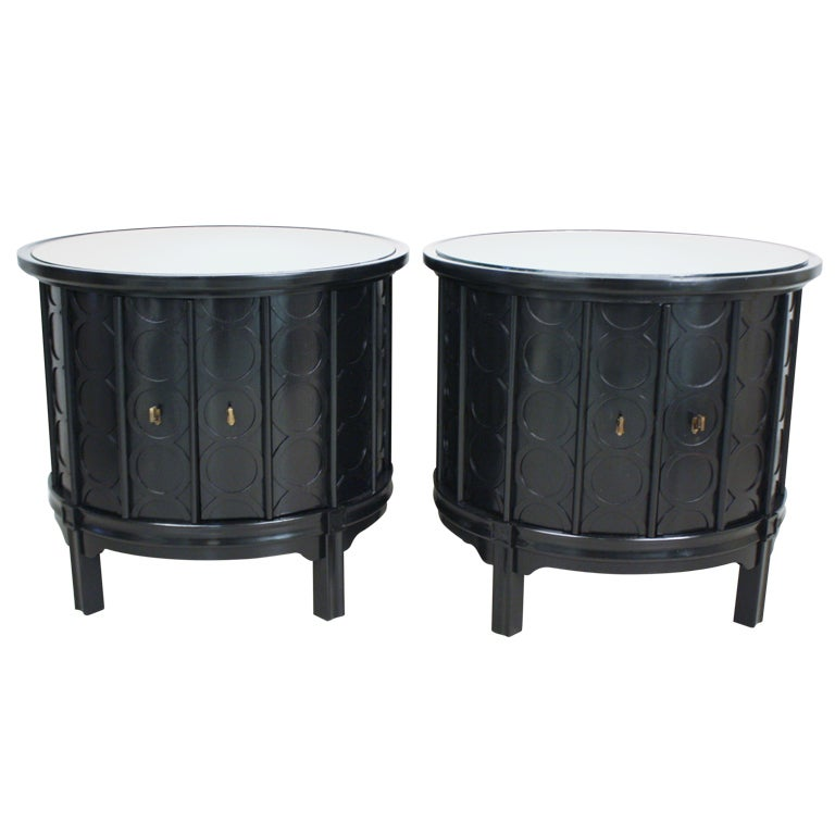 Pair of round drum end tables at 1stdibs for Drum side table