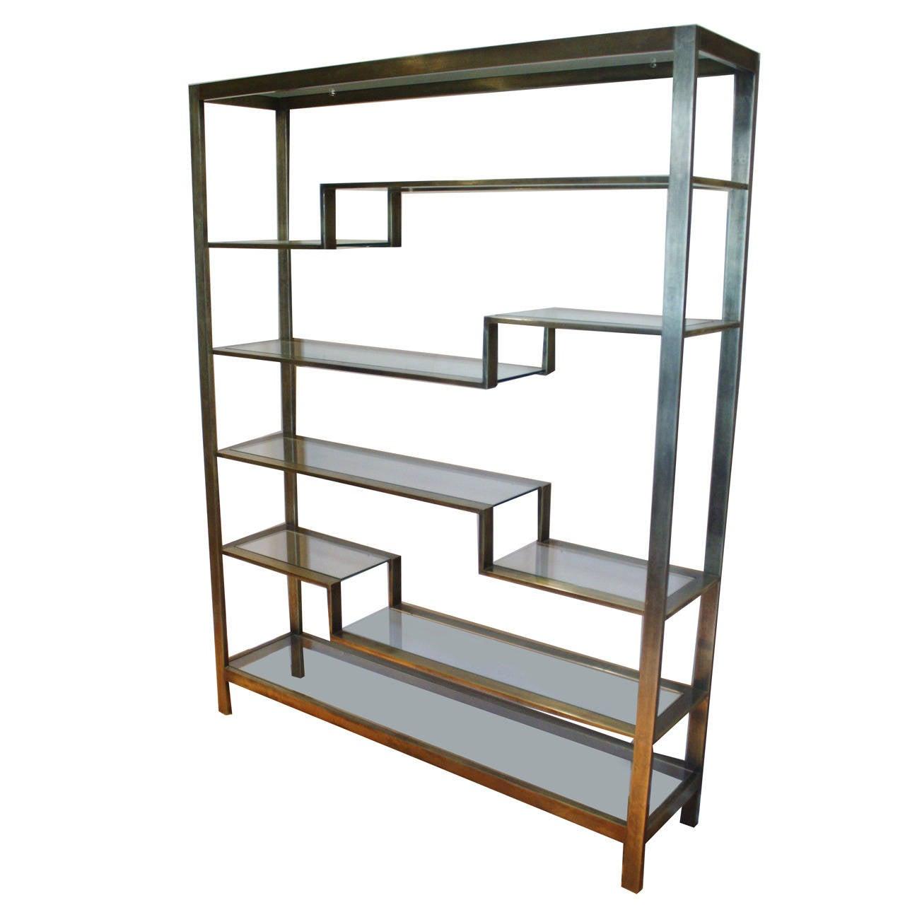 romeo rega brushed gold etagere at 1stdibs. Black Bedroom Furniture Sets. Home Design Ideas