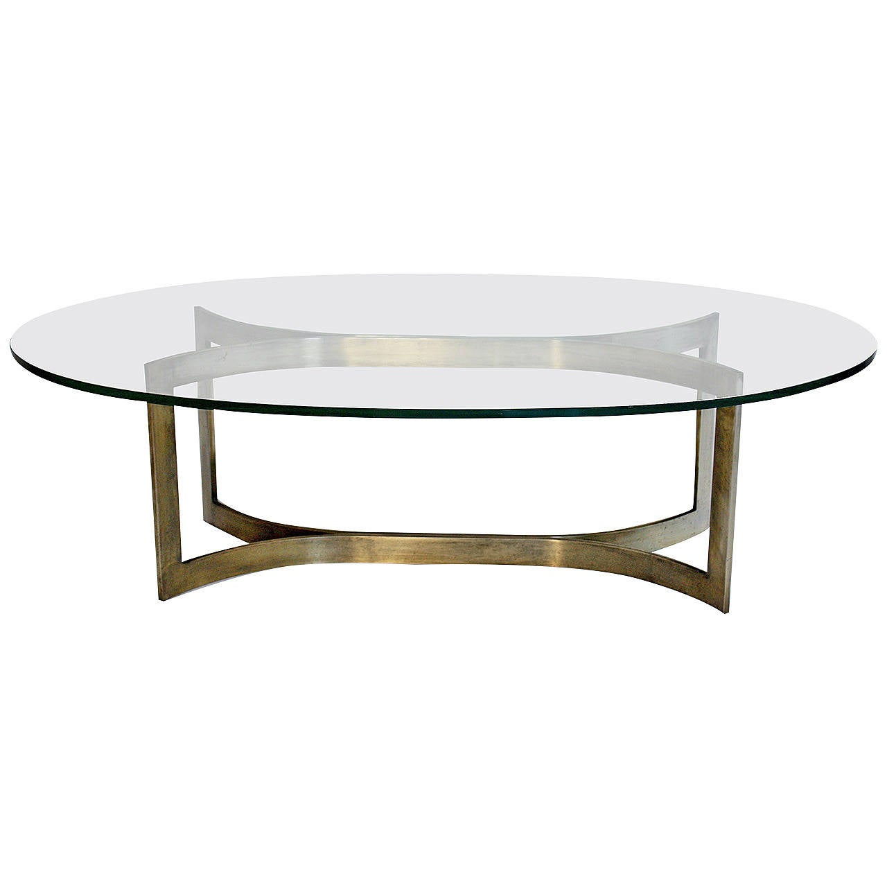 Baker bronze and glass oval cocktail table at 1stdibs for Contemporary oval coffee tables