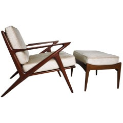 Poul Jansen Selig Z Chair and Ottoman