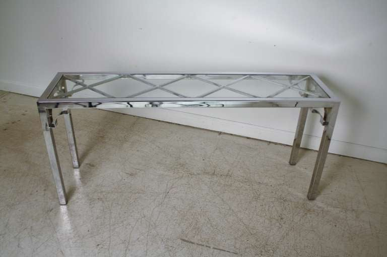 Chrome And Glass Console Sofa Table At 1stdibs. Stand Sit Desk. Range With Warming Drawer. Computer Desk Staples. Unfinished Wood File Cabinet 2 Drawer. Dining Table Placemats. Glass Metal Coffee Table. Plastic Outdoor Tables. Stiga Outdoor Ping Pong Table