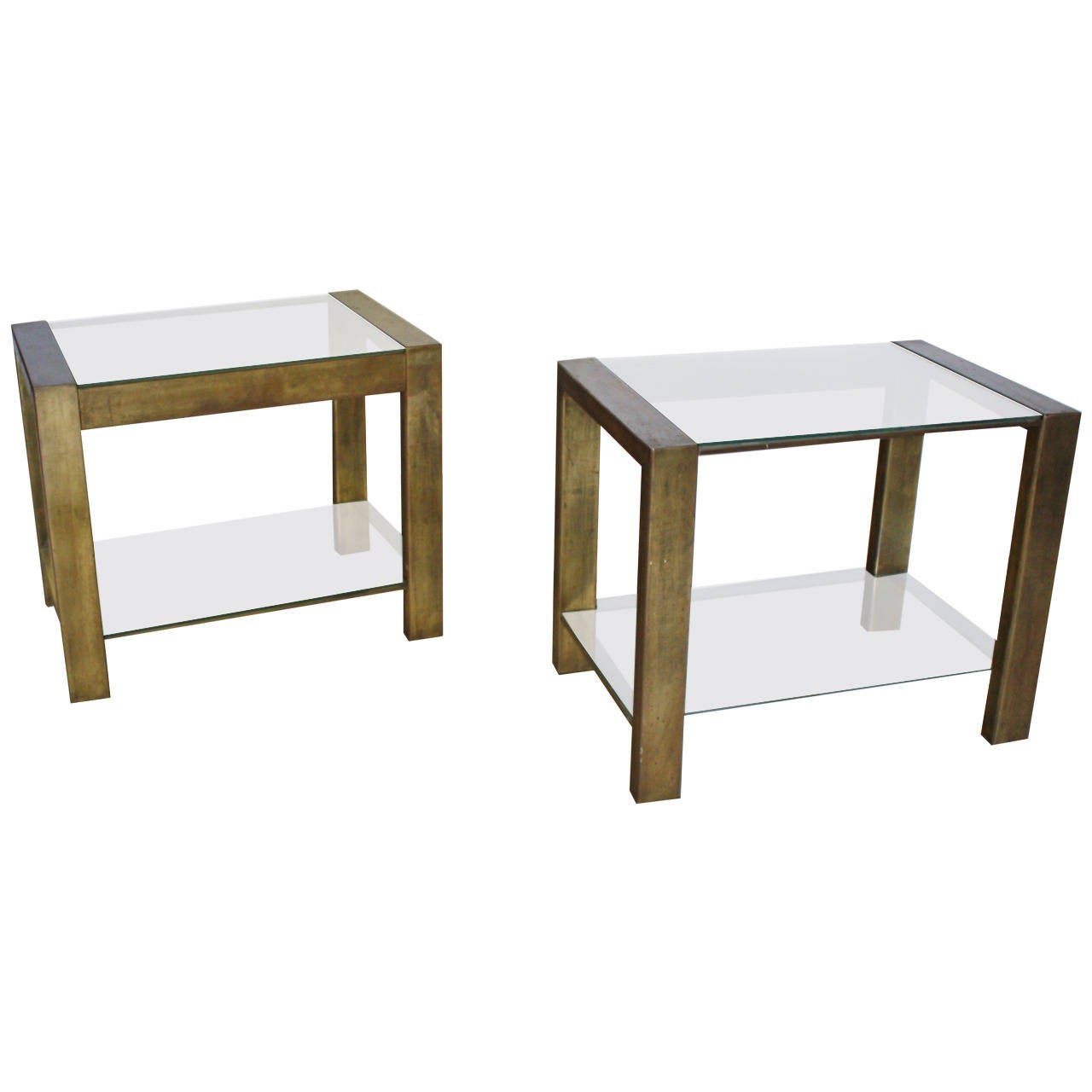 Custom Vintage Bronzed Metal and Glass End Tables For Sale