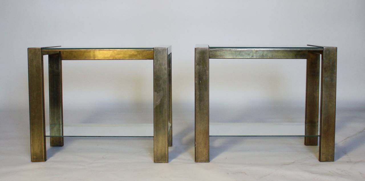 Mid-Century Modern Custom Vintage Bronzed Metal and Glass End Tables For Sale