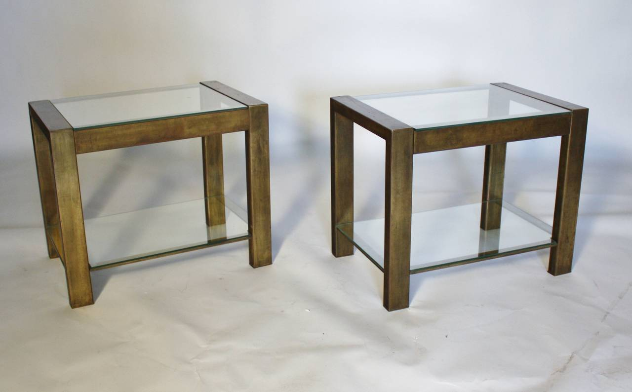 Custom Vintage Bronzed Metal and Glass End Tables In Good Condition For Sale In Chicago, IL