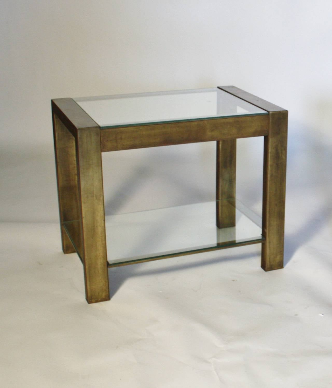 Custom Vintage Bronzed Metal And Glass End Tables For Sale At 1stdibs