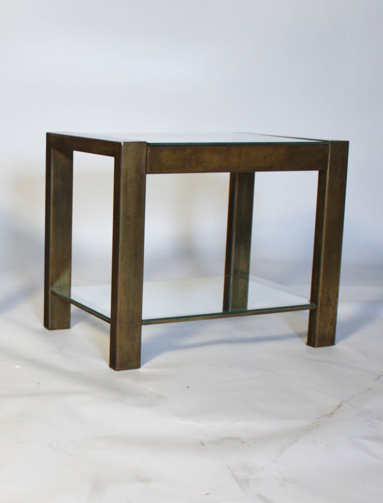 Custom Vintage Bronzed Metal and Glass End Tables For Sale 1