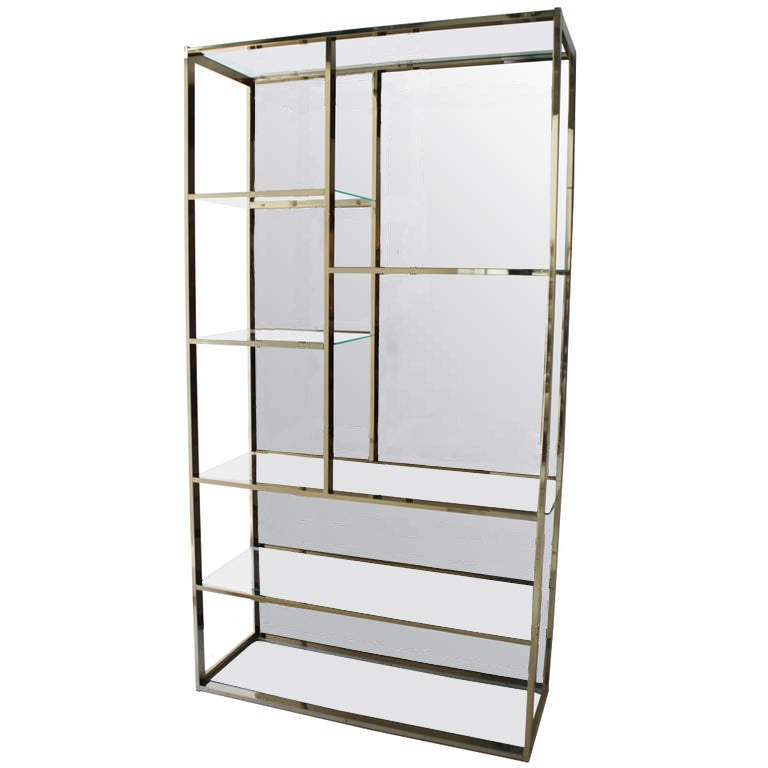 milo baughman brass and mirror etagere at 1stdibs