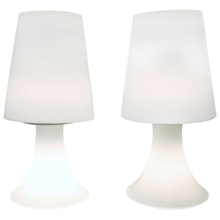 Pair of White Glass Laurel Lamps and Shades