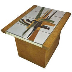 Burlwood and Art Tile-Top End Table