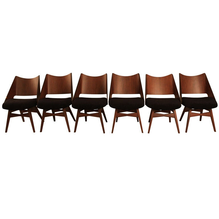 Set of Six Mid Century Modern Bentwood Dining Chairs at ...